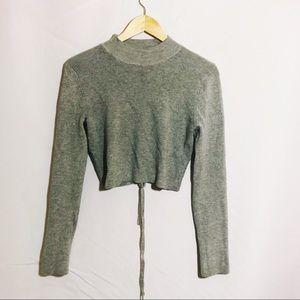 TOBI soft knit long sleeve tie back crop top